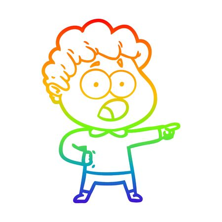 rainbow gradient line drawing of a cartoon man gasping in surprise Illusztráció