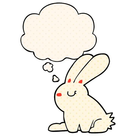 cartoon rabbit with thought bubble in comic book style