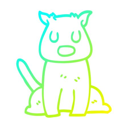 cold gradient line drawing of a cartoon calm dog