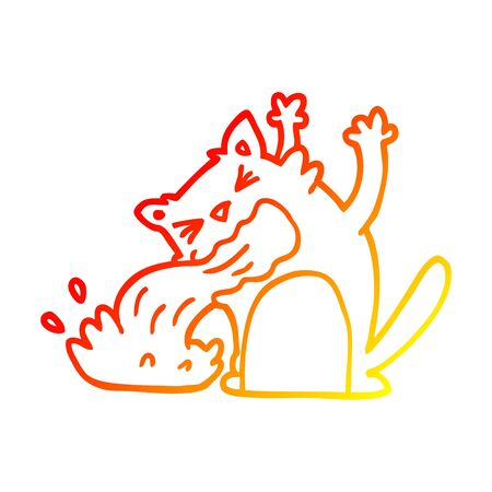 warm gradient line drawing of a cartoon cat being sick