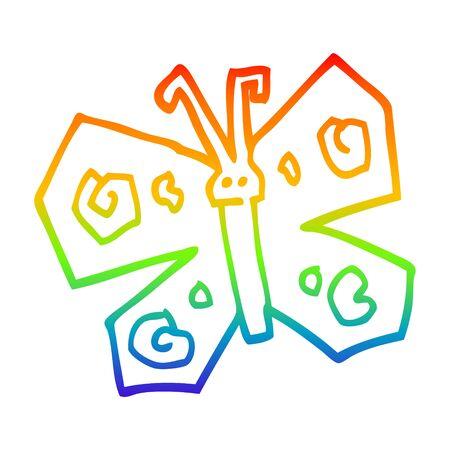 rainbow gradient line drawing of a cartoon butterfly Stock Illustratie