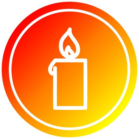 burning candle circular icon with warm gradient finish Ilustração