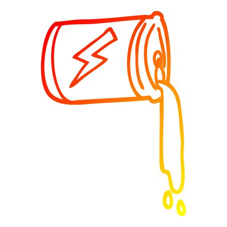 warm gradient line drawing of a cartoon pouring soda can