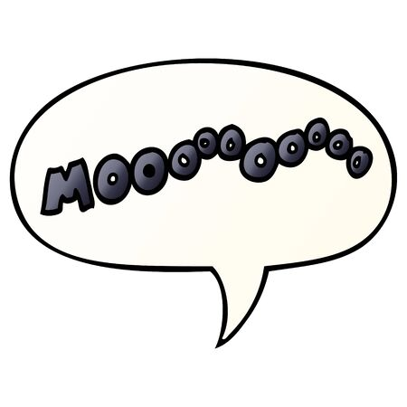cartoon moo noise with speech bubble in smooth gradient style