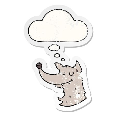 cartoon wolf with thought bubble as a distressed worn sticker Stock Illustratie