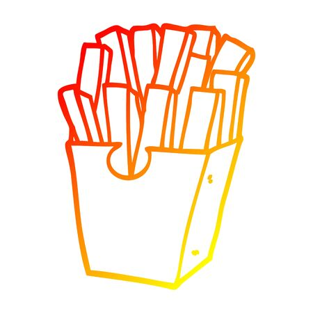 warm gradient line drawing of a cartoon takeout fries