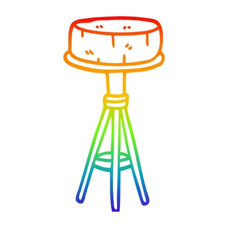 rainbow gradient line drawing of a cartoon breakfast stool