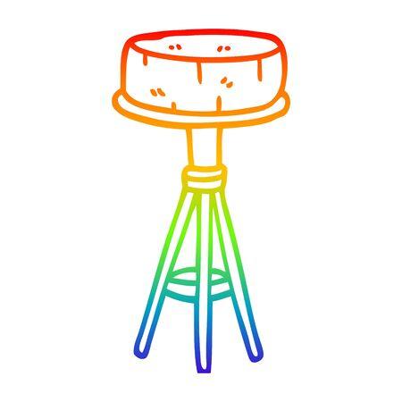 rainbow gradient line drawing of a cartoon breakfast stool Stock fotó - 130604198