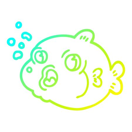 cold gradient line drawing of a cartoon fish blowing bubbles