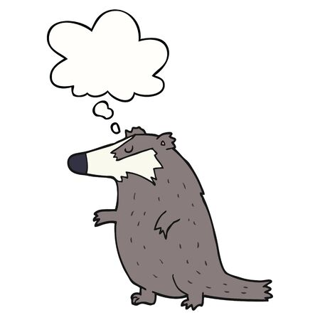 cartoon badger with thought bubble Ilustracja