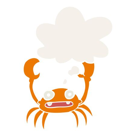 cartoon crab with thought bubble in retro style