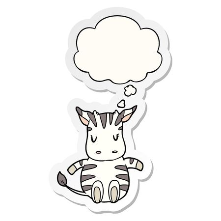 cartoon zebra with thought bubble as a printed sticker Stockfoto - 130604058