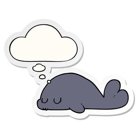 cute cartoon seal with thought bubble as a printed sticker