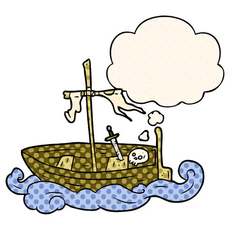 cartoon old boat with thought bubble in comic book style Foto de archivo - 130604070