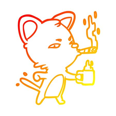 warm gradient line drawing of a serious business cat with coffee and cigar Stockfoto - 130604073
