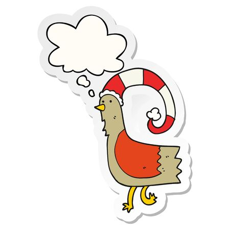 cartoon chicken in funny christmas hat with thought bubble as a printed sticker