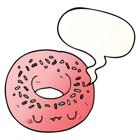 cartoon donut with speech bubble in smooth gradient style