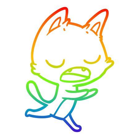Dibujo de la línea de gradiente de arco iris de una caricatura de gato parlante Ilustración de vector