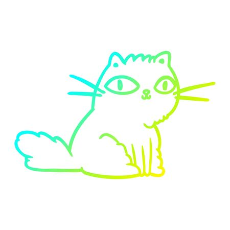 cold gradient line drawing of a cat looking right at you