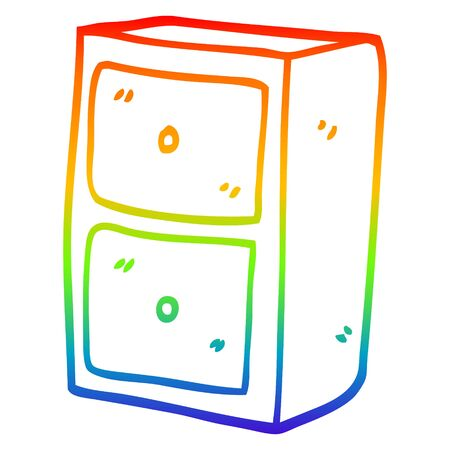 rainbow gradient line drawing of a cartoon filing cabinet
