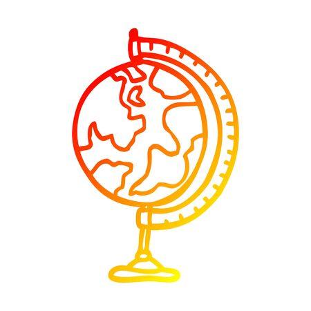 warm gradient line drawing of a cartoon world globe