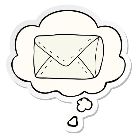 cartoon envelope with thought bubble as a printed sticker