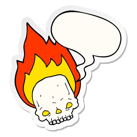 spooky cartoon flaming skull with speech bubble sticker