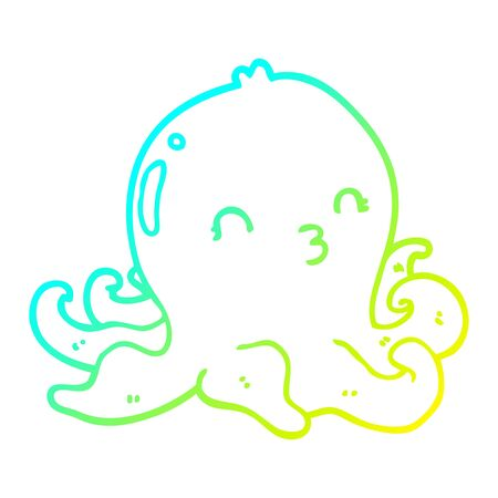 cold gradient line drawing of a cartoon octopus 向量圖像