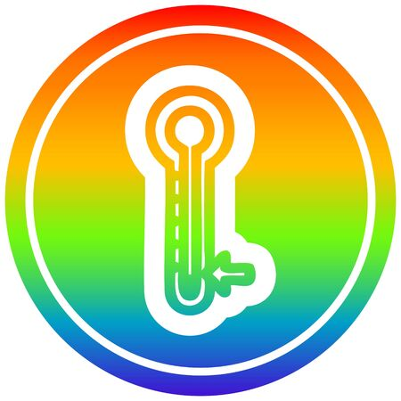 low temperature circular icon with rainbow gradient finish Illustration