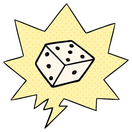 cartoon dice with speech bubble in comic book style