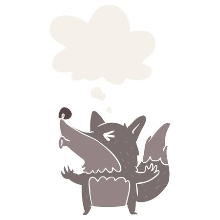 cartoon werewolf howling with thought bubble in retro style 向量圖像