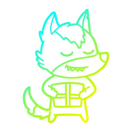cold gradient line drawing of a friendly cartoon wolf carrying christmas present