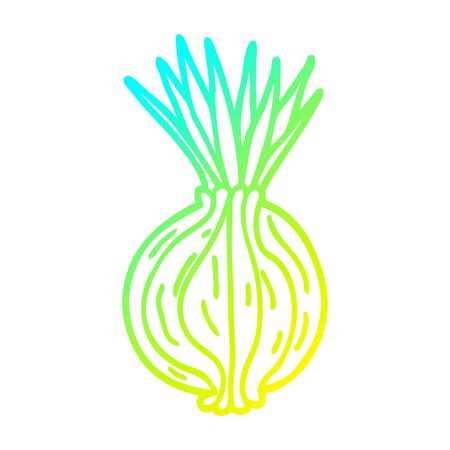 cold gradient line drawing of a cartoon sprouting onion