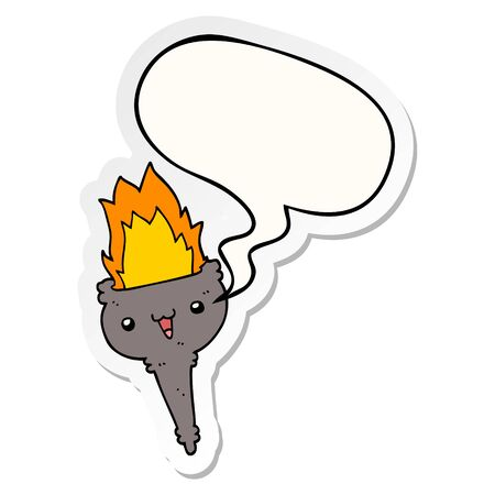 cartoon flaming chalice with speech bubble sticker Banco de Imagens - 130604399
