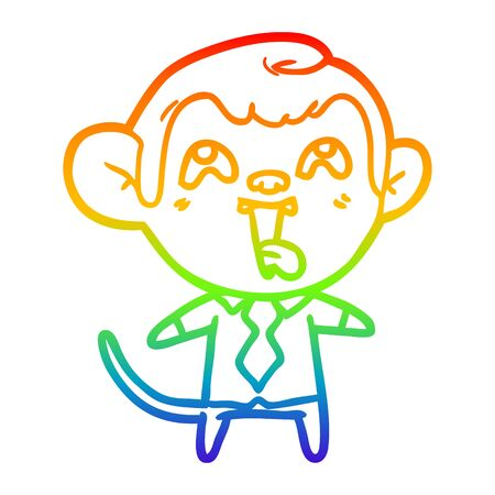 rainbow gradient line drawing of a crazy cartoon monkey in shirt and tie