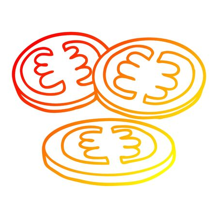 warm gradient line drawing of a sliced tomatoes cartoon