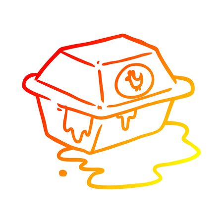 warm gradient line drawing of a take out fried chicken  イラスト・ベクター素材