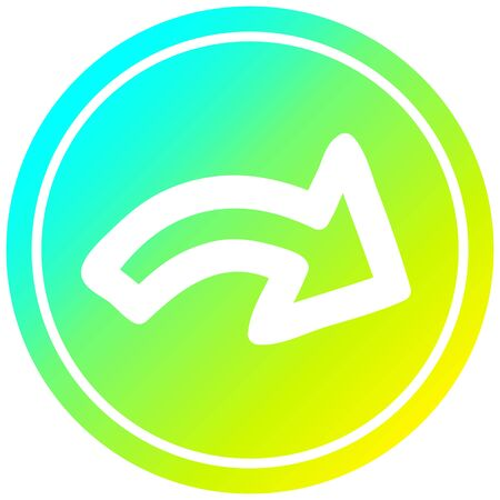 direction arrow circular icon with cool gradient finish