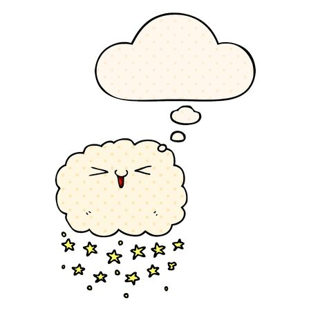 happy cartoon cloud with thought bubble in comic book style Çizim