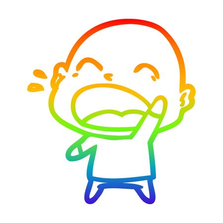 rainbow gradient line drawing of a cartoon shouting bald man