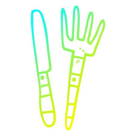 cold gradient line drawing of a cartoon knife and fork Illusztráció