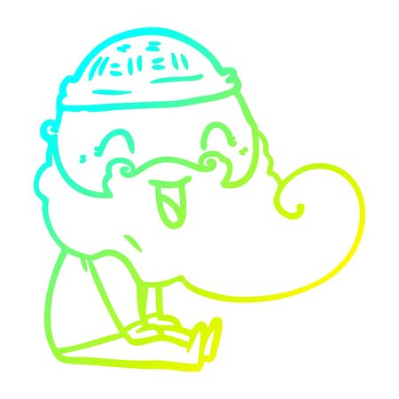 cold gradient line drawing of a happy bearded man sat down laughing