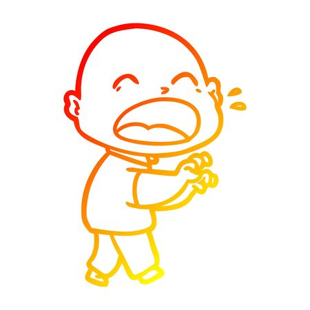 warm gradient line drawing of a cartoon shouting bald man Ilustrace