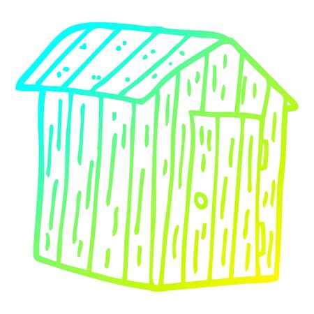 cold gradient line drawing of a cartoon wood shed