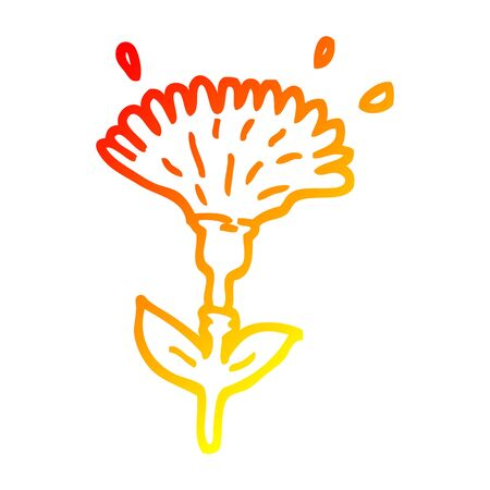 warm gradient line drawing of a cartoon dandelion opening Stock Illustratie