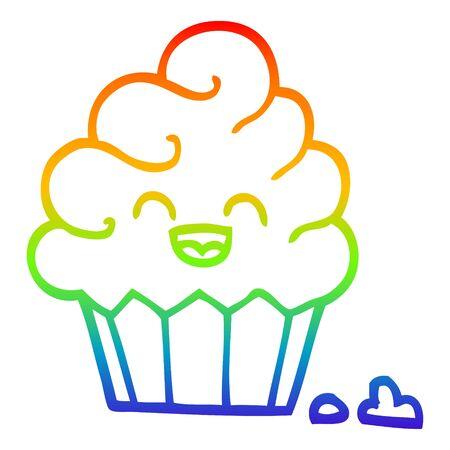 rainbow gradient line drawing of a cartoon cupcake 向量圖像