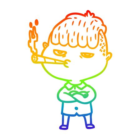 rainbow gradient line drawing of a cartoon man smoking Illusztráció