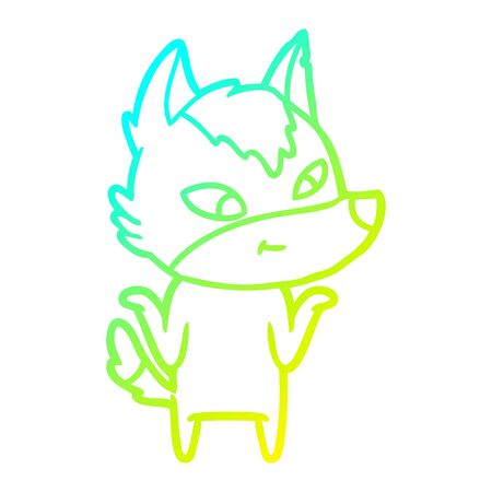 cold gradient line drawing of a friendly cartoon wolf