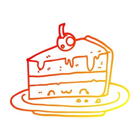 warm gradient line drawing of a cartoon cake 向量圖像