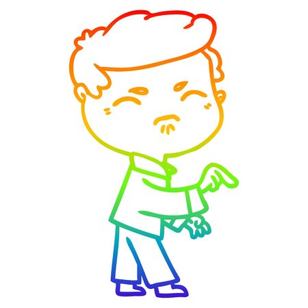 rainbow gradient line drawing of a cartoon annoyed man pointing finger